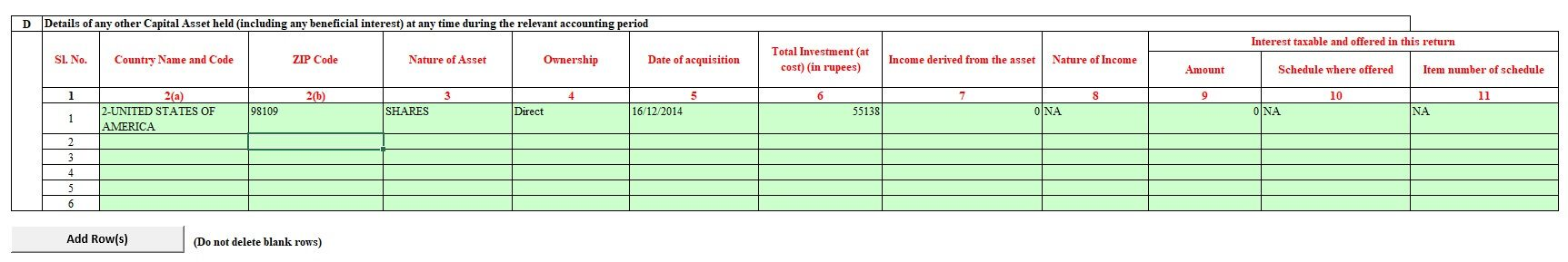 How to show RSU, ESPP in Foreign Assets
