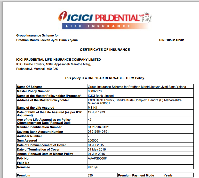 Premium Receipt Of Icici Prudential Life Insurance