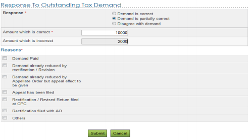 Income Tax Outstanding demand is partially correct