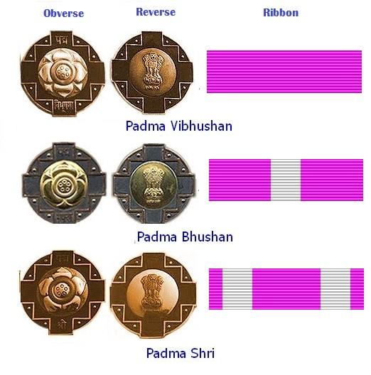 Padma medals, observe, reverse and Ribbon