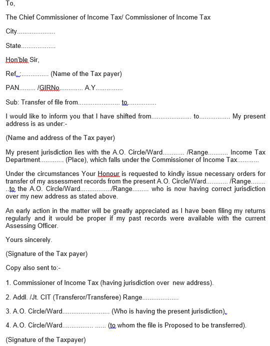 Change assessing officer and jurisdiction for income tax letter for change assessing officer spiritdancerdesigns