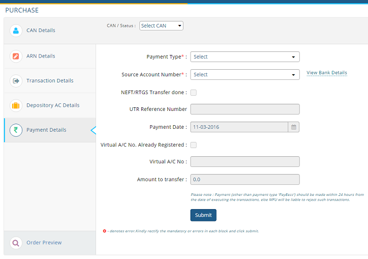 Purchase Mutual Funds directly using MF utility, Payment details
