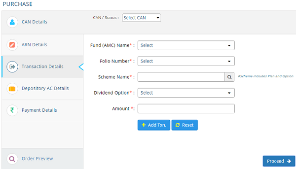 Purchasing Mutual Funds Directly through MF Utility Transaction Details
