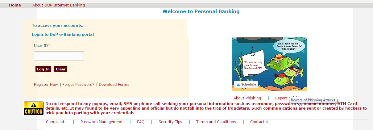 Login Screen for Post Office Internet Banking