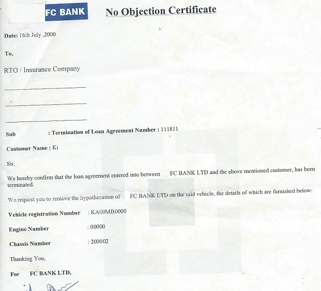 No Objection Certificate From Bank On Closing Car Loan  No Objection Letter For Business