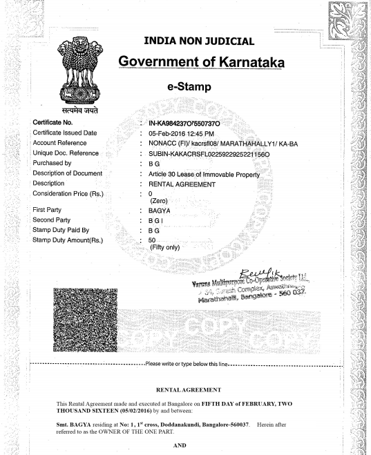 Rental Agreement For Claiming HRA While Living With Parents Rental  Agreement On E Stamp Paper For  Hra Rent Receipt Format