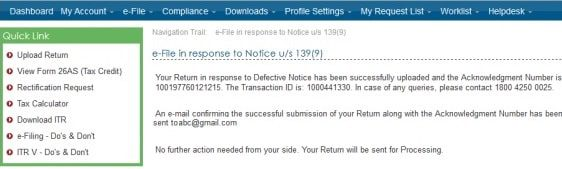 Defective return submission on submission of response to AO