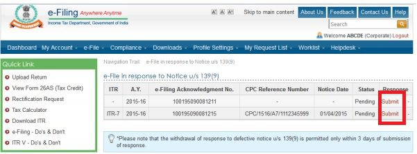 See the defective return after logging in to Income Tax Website