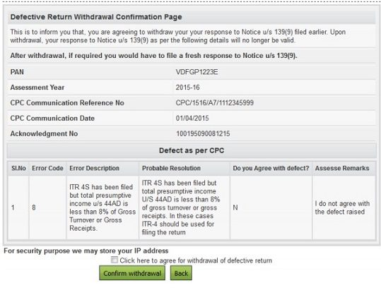Withdrawing defective return response