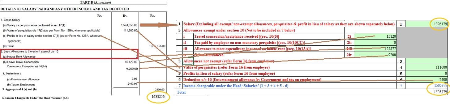 How to show HRA not accounted by the employer in ITR Schedule S of ITR2