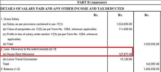 HRA in Form 16 Part B