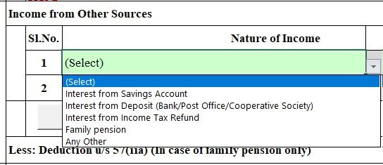 ITR fill income from Other sources