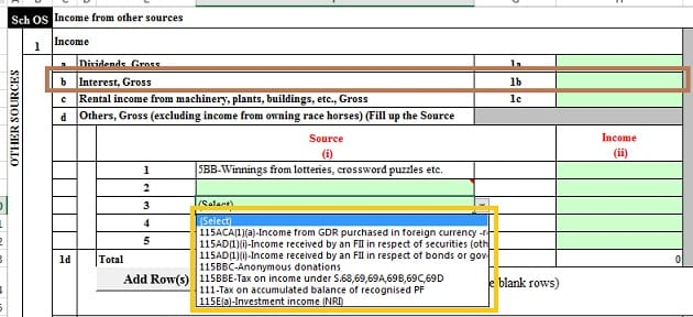 Show income from Senior Citizen scheme in OS of ITR as Income from other sources