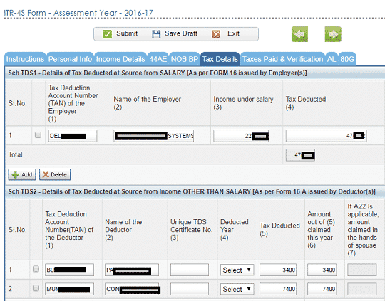 Quick eFile ITR1 ITR4S Tax Details prefilled