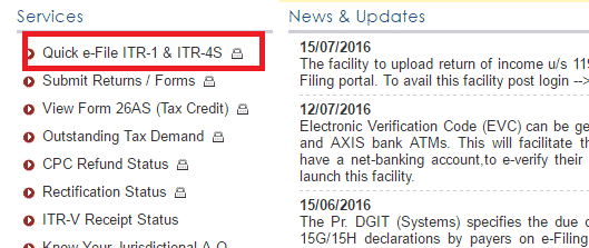 Quick e-file ITR1 and ITR4S on incometaxindiaefiling.gov.in