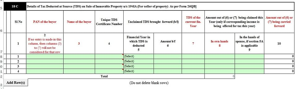 TDS for sale of Property in ITR