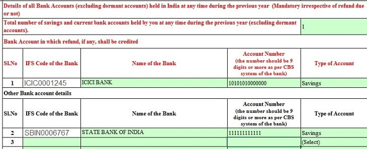 Bank account details for income tax refund