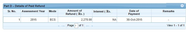Income Tax refund details in Form 26AS