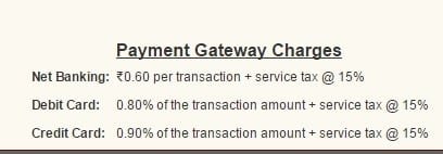 Payment charges on making contribution using eNPS