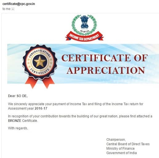 Income Tax Certificate Of Appreciation