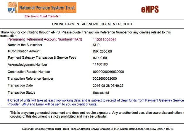 how to do online contribution to nps using enps