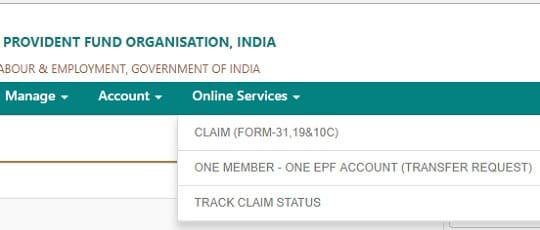 EPF Online Withdrawal/Transfer/Partial Withdrawal through UAN Online Services