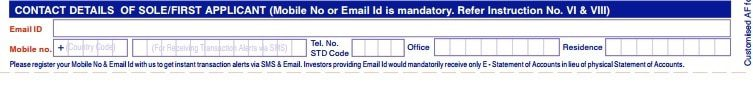 Email Mobile Number in Mutual Fund Form