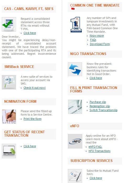 Investor services offered by CAMS Registrar and Transfer Agent