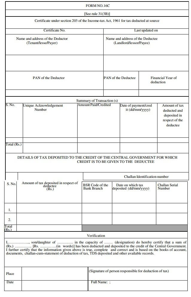 Form 16C for payment of rent above 50000