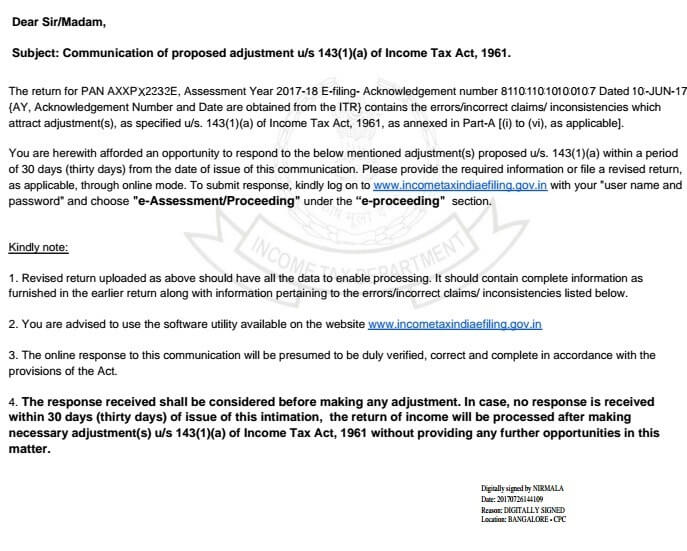 Communication Of Proposed Adjustment Us 1431a And E Assessment