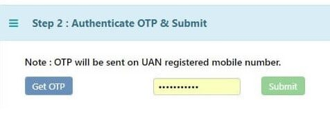 EPF Transfer Online Get OTP and Submit