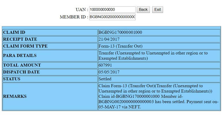 Claim details for PF account from which EPF was transferred