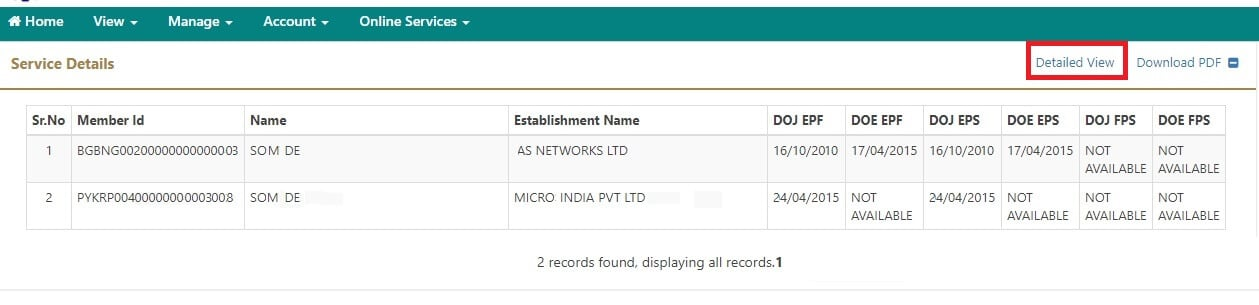 View Service History for EPF on logging to UAN portal