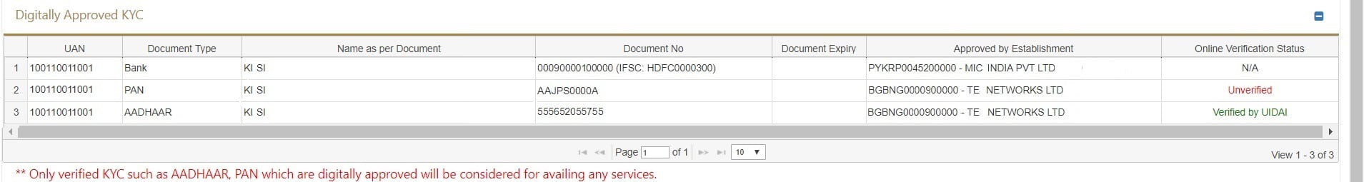 PAN Unverified in KYC at UAN website