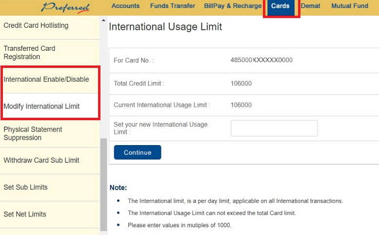 Setting limits for using credit card on international sites or internationally