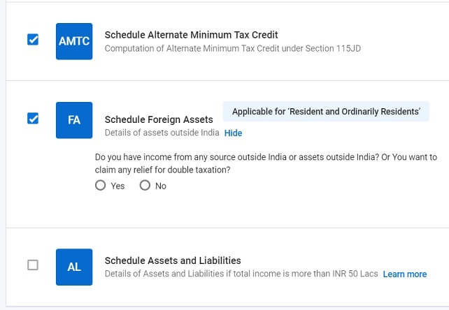 Select schedule for Income from Foreign Assets