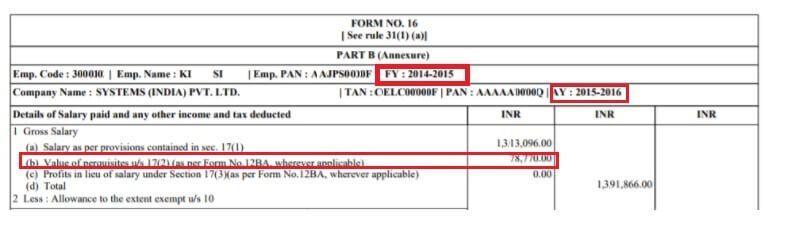 Form 16 showing Perquisite Income