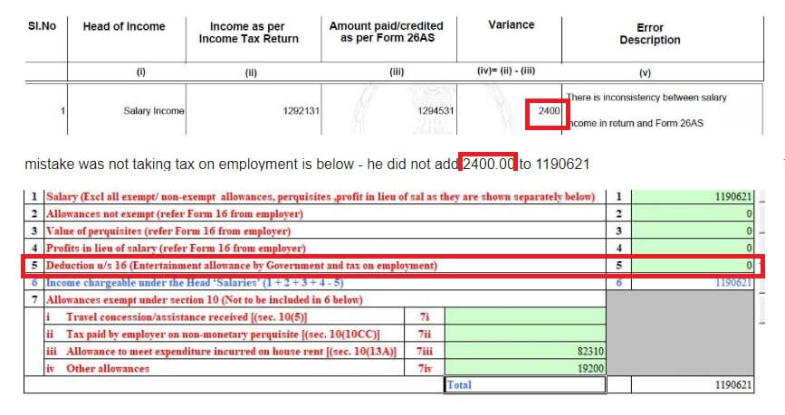 Income Tax notice for mismatch in Professional tax