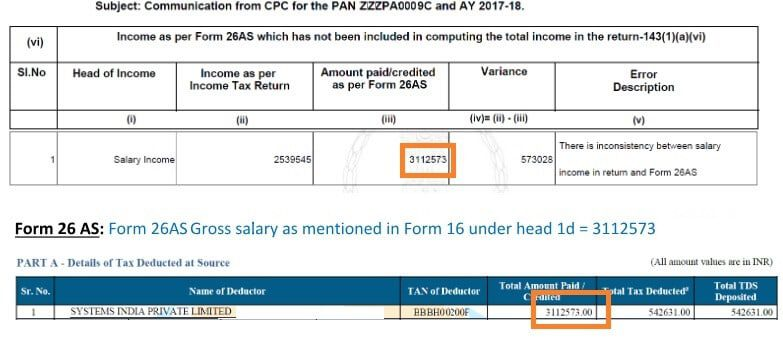 Income Tax Notice for Mismatch in salary and Form 26AS