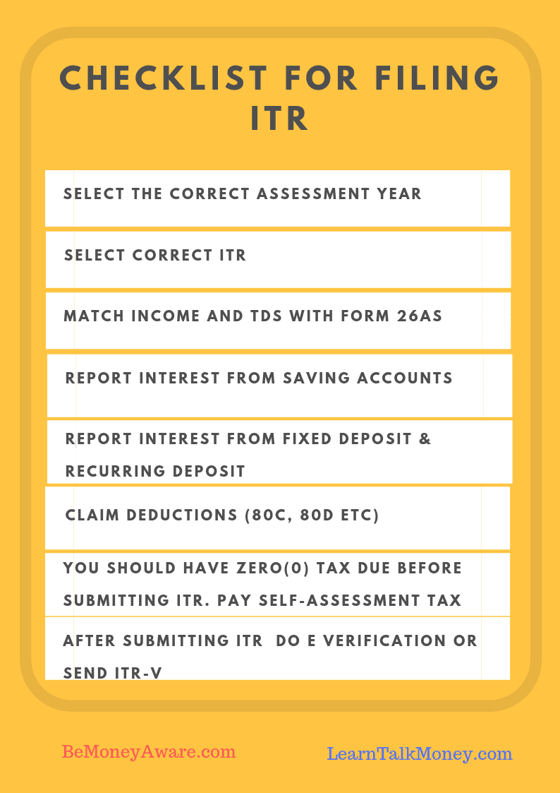 Checklist for Filing ITR to avoid mistake