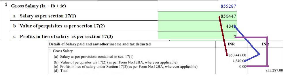 ITR fill salary details from Form 16