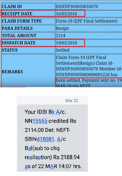 EPF Withdrawal claim status dates, settled and money credited