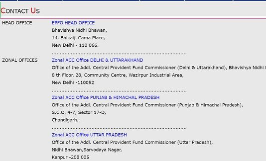 EPF contact details of Zonal EPFO