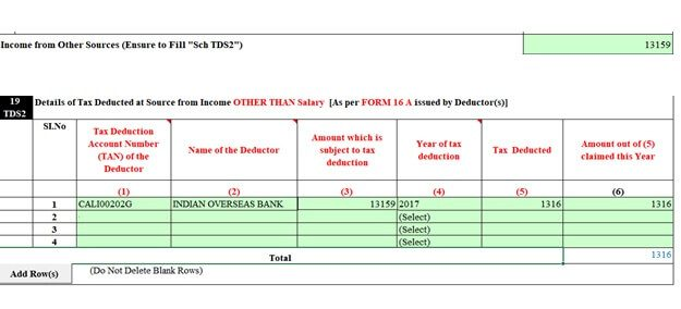 FD Interest and TDS shown in the ITR