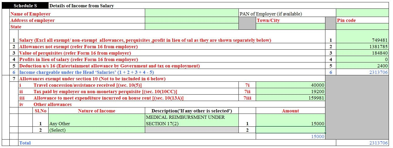 Fill Salary details and exempt income in ITR2