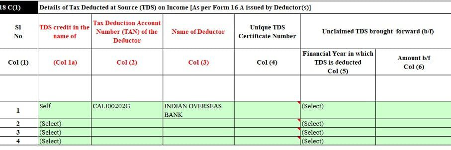 TDS Details of FD from Form 16A to be filled in ITR2
