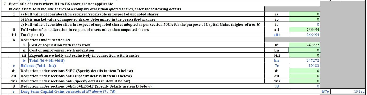 Long term capital gains for debt Mutual Fund in CG B7 Section of ITR