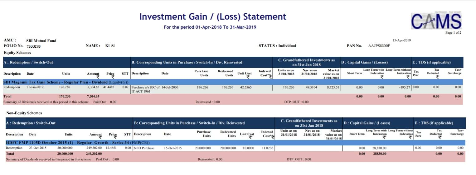 Capital Gain CAMS Mutual Fund Statements