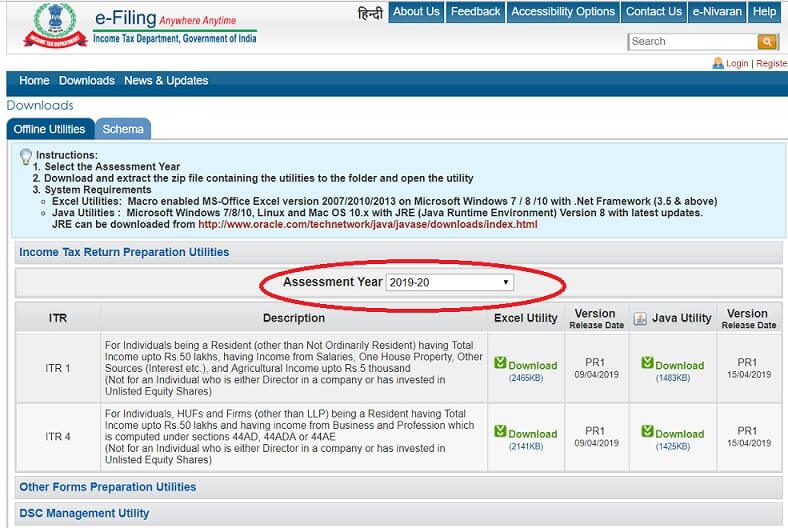 Income Tax Efiling Utilities are based on Assessment Year