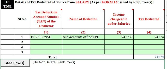 TDS for EPF Withdrawal claim in ITR